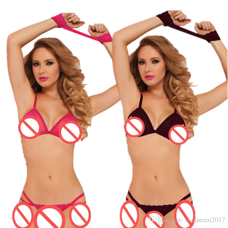 85eb747de0e sexy Lingerie with handcuffs G-string Open Bra Tops+T Pants erotic cosplay  costumes sexy nightclubs clothes erotic underwear micro bikini