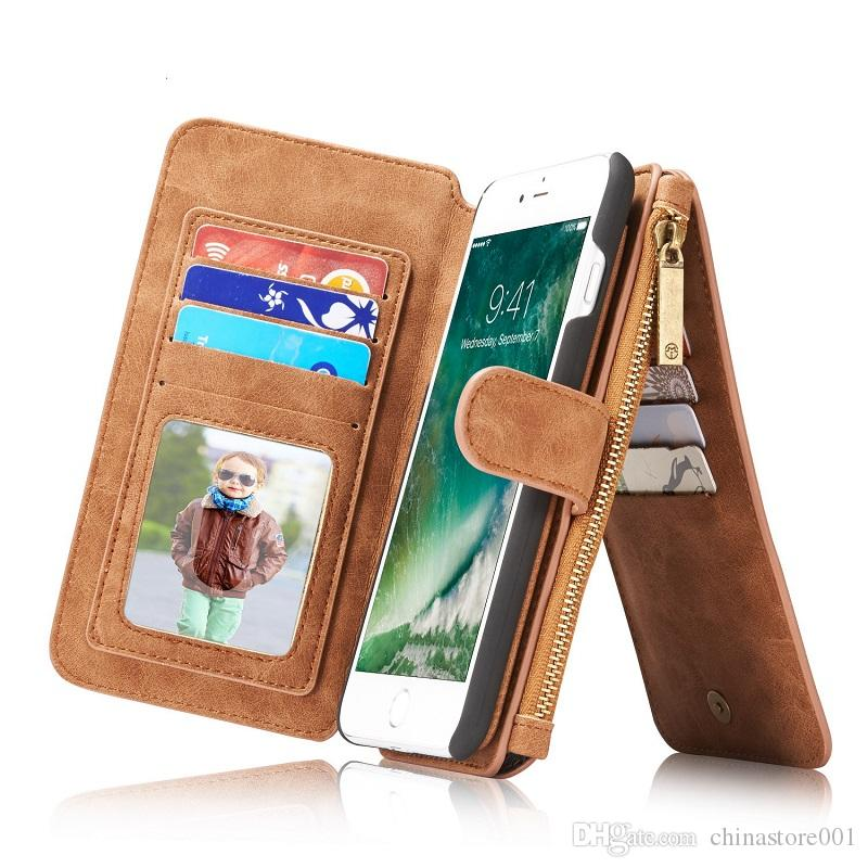 CaseMe For IphoneX Samsung S8 Zipper Wallet Phone Case Cover Fashion Quality PU Leather Purse Cases Card Holder for iPhone7 6 plus S7