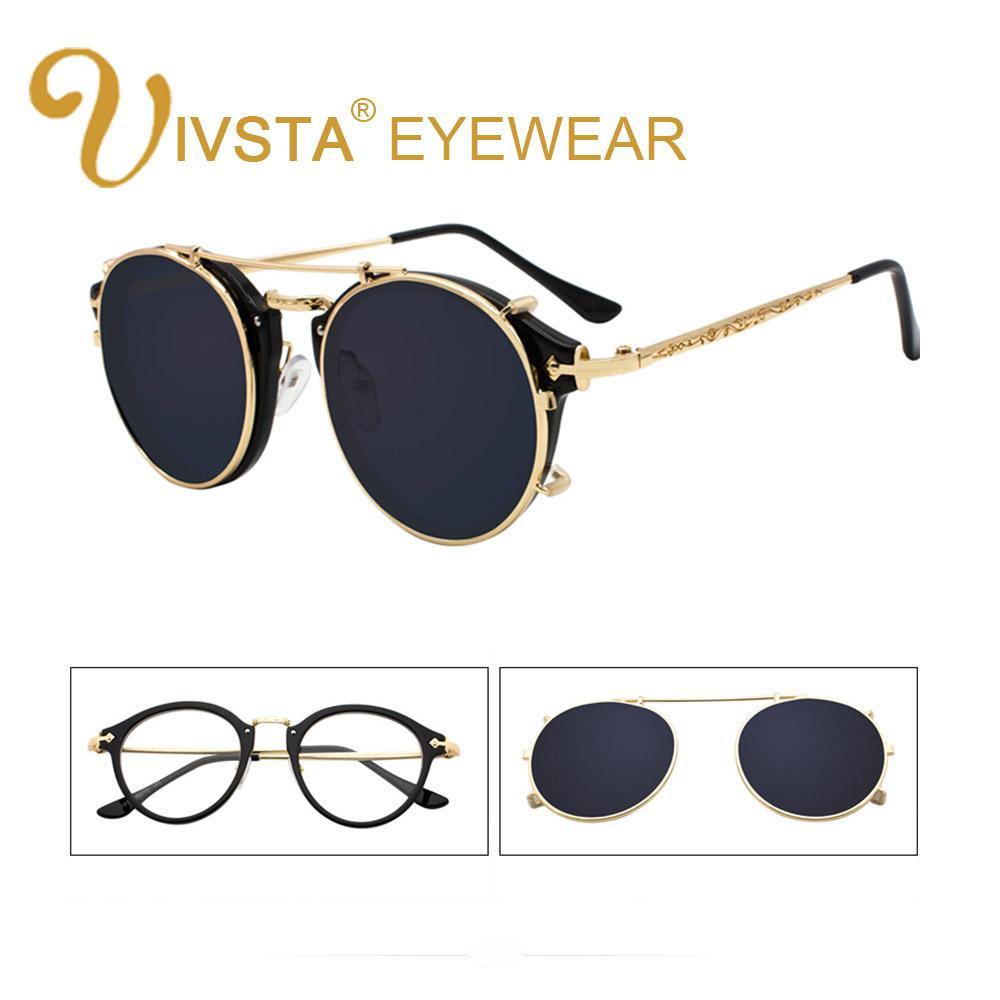 26caae0a1103 IVSTA Clip On Sunglasses Men Removable Clips Flip Up Glasses Round  Steampunk Women Optical Frame Graduated Retro Mirror Lenses Sunglasses For  Men ...