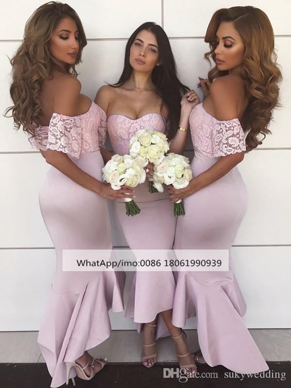 4c68d484a3e Sexy Off The Shoulder Mermaid Prom Dresses High Low Lace Bridesmaid Dresses  Floor Length Appliques New Maid Of Honor Dresses Pink Blue Cotton Bridesmaid  ...