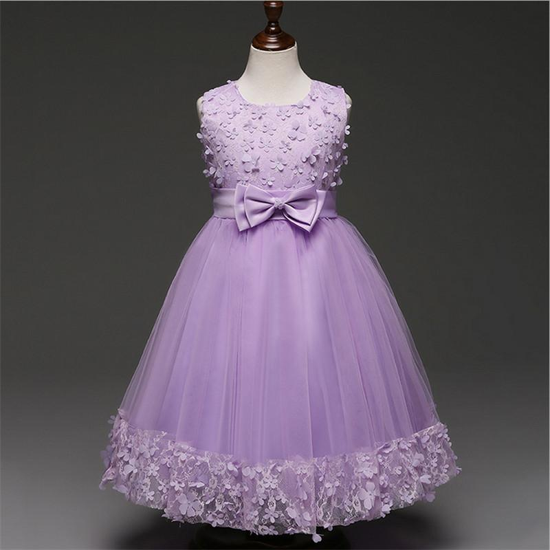 Kids Wedding Flower Girl Dress Elegant Princess Girl Party Pageant Formal Dress for Children Girls Lace Tulle Dresses Clothes
