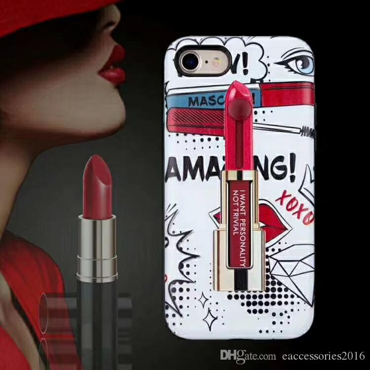 For Samsung J3 Prime J7Prime 2017 USA Version Hybrid 3D Printing Lipstick Pattern Cover Phone Case Lady Use