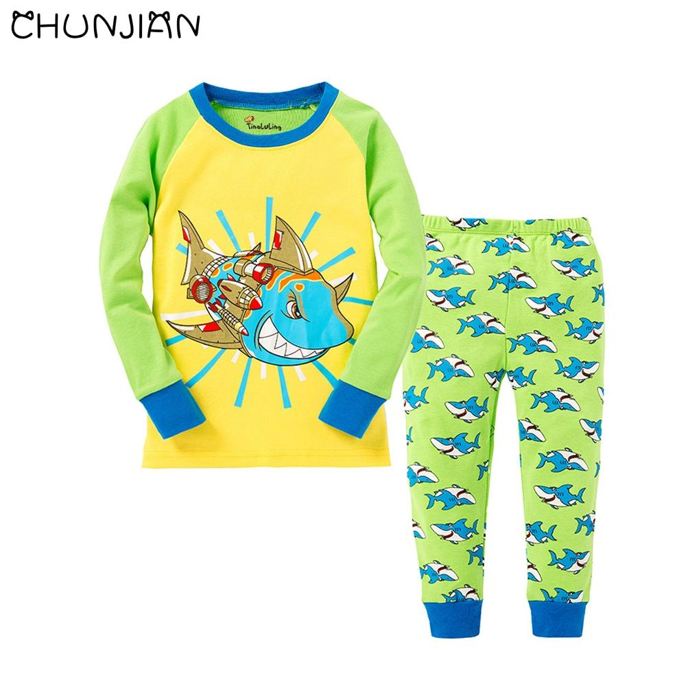 52d3122fef088 2018 New Kids Shark Pajamas Boys Animal Design Pijamas Children Clothing  Sets Baby Long Sleeve Sleepwear Nightwear 2 7T Cheap Kids Pajamas Sale  Cheap ...