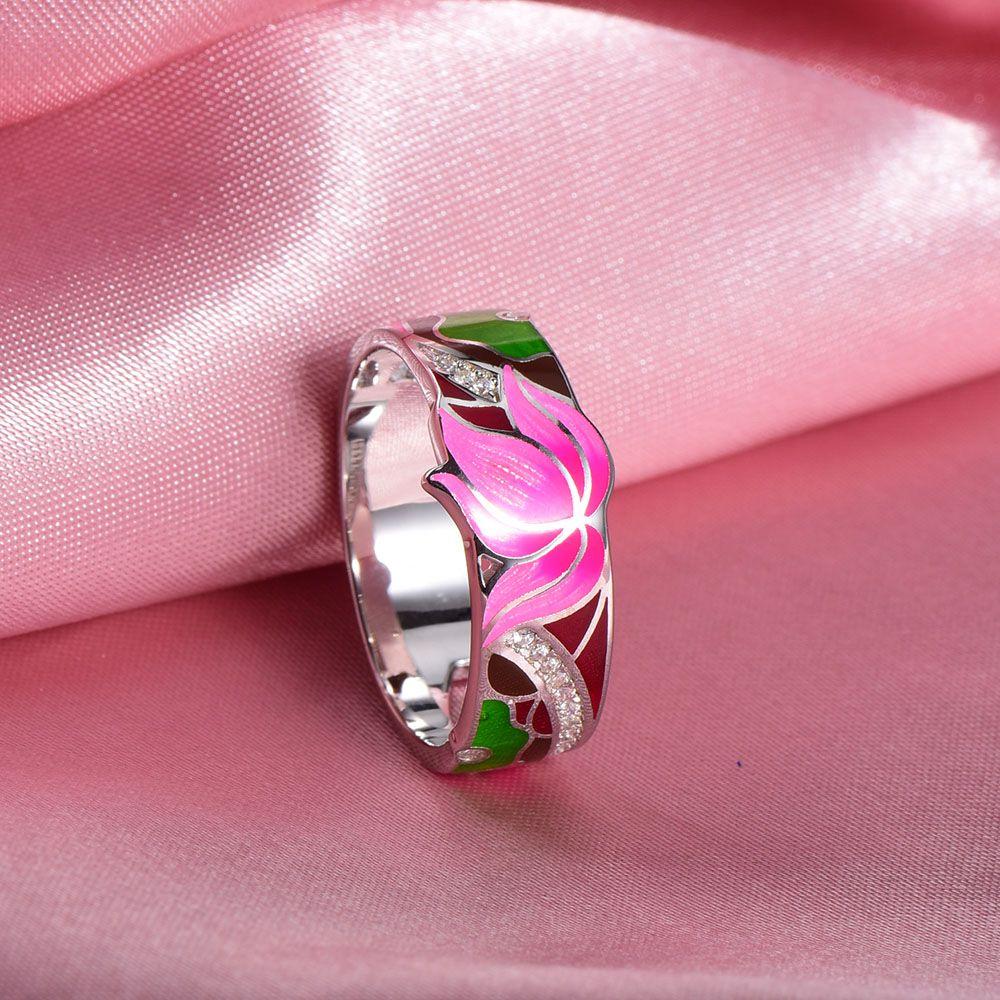 2018 Whole Salerainmarch Bohemian Enamel Lotus Flower Silver Ring ...