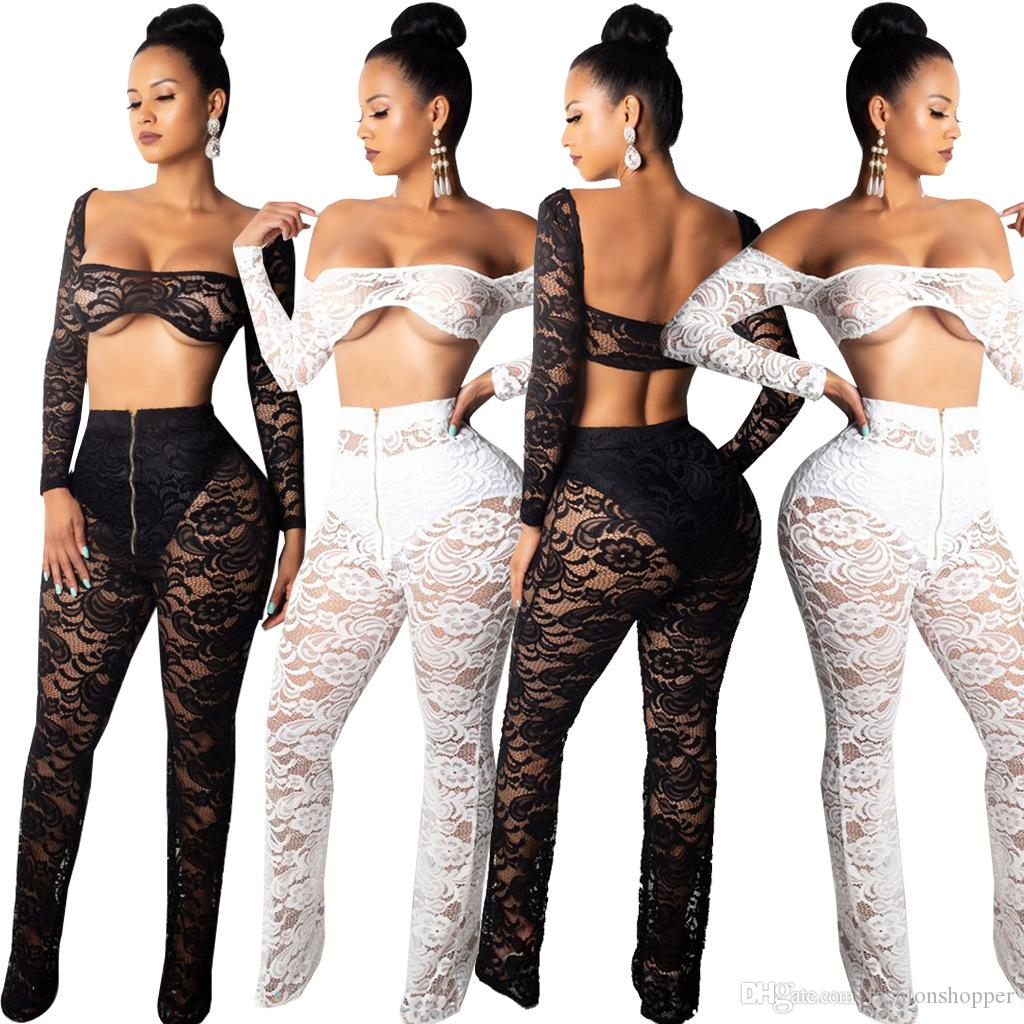 028d08f9c9a4 Women Sexy Lace Two Piece Set Sheer Hollow Out Off Shoulder Long ...