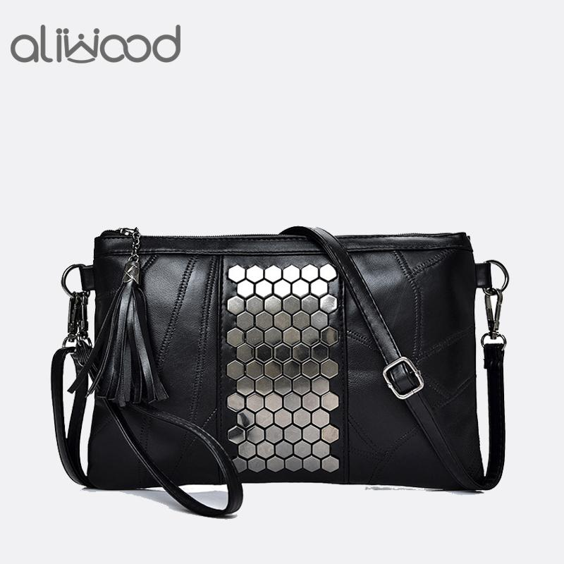 Aliwood Women's Genuine Leather Messenger Bags Rivet Clutch Ladies' Shoulder Bag Designer Handbags Tassel Crossbody Bag For Girl