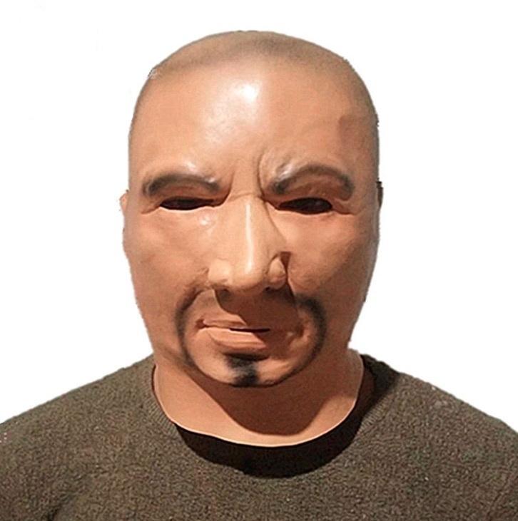 Großhandel Mann Latex Maske Haube Overhead Perücken Bart Menschliche