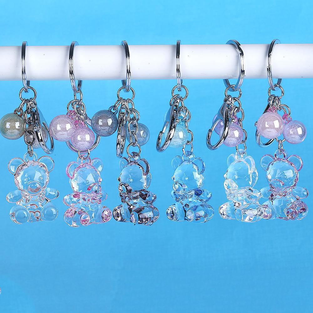 Creative Cartoon Cute Animal Transparent Crystal Bear Keychains Women  Jewelry Plastic Ball Beads Keyring Car Pendants Key Chains Best Keychain  Key Ring ... a81532dec2