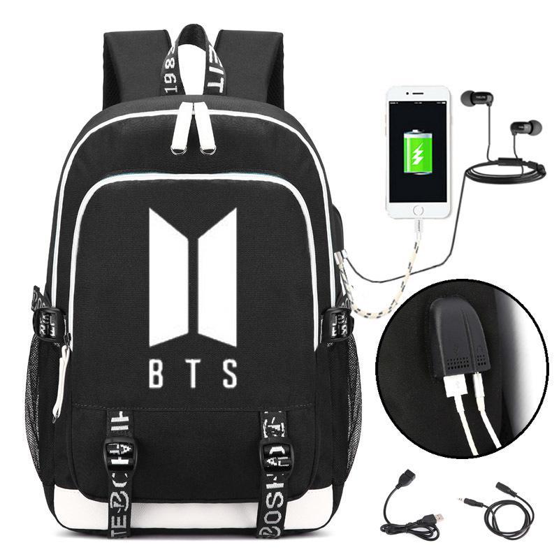 657515c91dbb KPOP BTS логотип рюкзак Bangtan мальчики школьная сумка Jimin Jung Kook JIN  Y18110107
