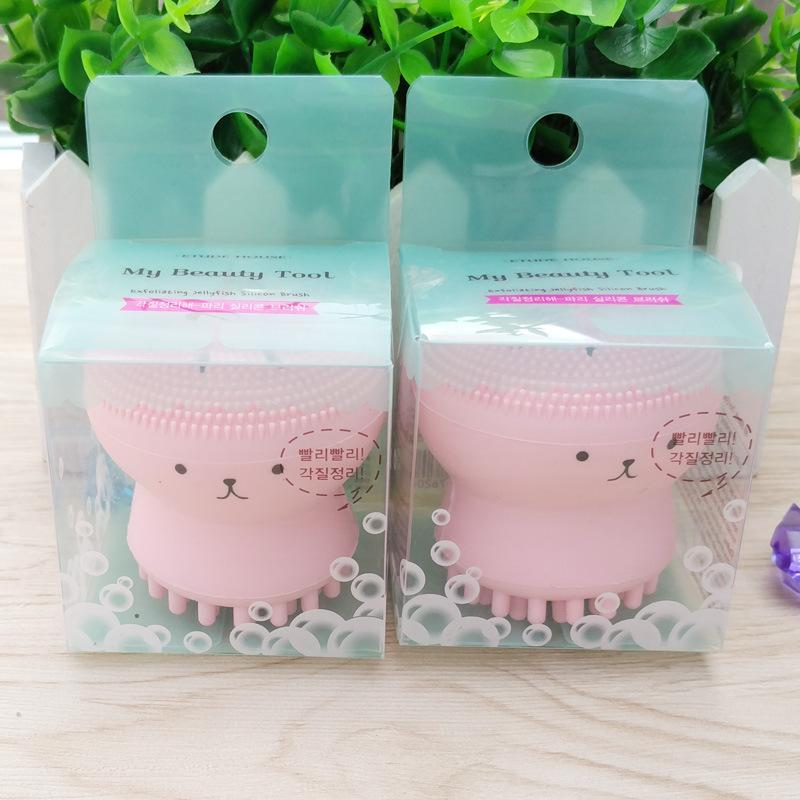 New Arrival Cute Octopus Face Cleaner Soft Silicone Facial Brush Face Cleansers Blackhead Spot Acne Massage Soft Face wash brush