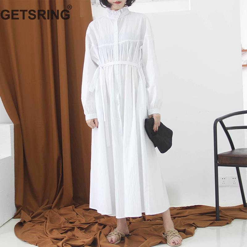 5aa9d17758 2019 GETSRING Women Dresses Cotton Linen Shirt Dress Retro Stand Collar  Long Sleeve A Line Dress Single Breasted Loose Long New From Wqasysos