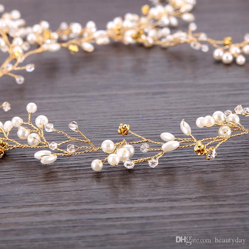 Başlığı Fascinators Tiara Düğün Gelin Nedime Gümüş Altın El Yapımı Rhinestone Inci Hairband Kafa Lüks Saç Aksesuarları