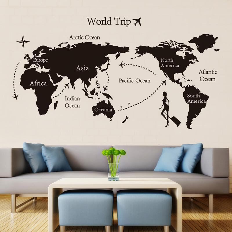 hot sale Black World Trip map Wall Stickers for Kids room Home Decor office Art Decals 3D Wallpaper Living room bedroom decoration