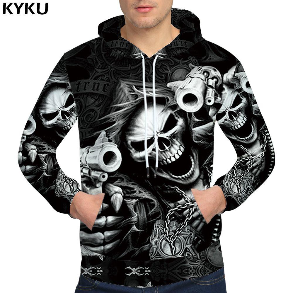 Compre Kyku Skull Hoodies Hip Hop Hoodie Punk Ropa Para Hombre Rockgun 3d  Hoodies Sudaderas Hombre Hombre Streetwear Anime D18100708 A  22.58 Del  Yizhan04 ... 99c9d759c93