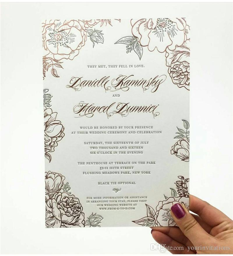 Wedding Invitation Printing.Custom Invitation Printing Service Foil Stamp Embossing Letterpress Laser Cut Engrave Accept Small Ordering Quantity Low Moq