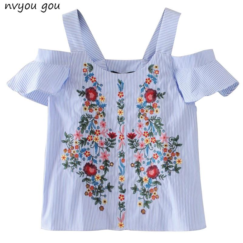 bc6d764d34 Off Shouder Floral Embroidery Striped Shirts Women S Blouses Sweet Ruffles  Short Sleeve Blouse Ladies Casual Brand Tops Blusas S915 Awesome Tshirt  Designs ...