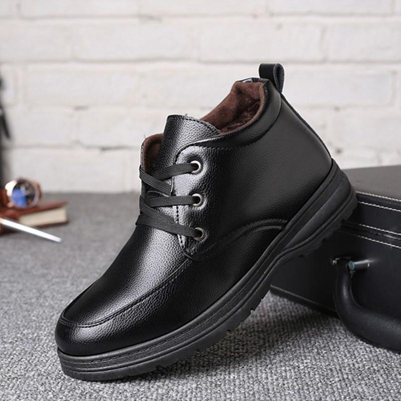 Men S Ankle Boots For Men Snow Boots Man Winter Leather Shoes Non Slip Lace  Up Comfort Warm Plush Mens Business Dress Boots Combat Boots Rain Boots  From ... efaeed2b9