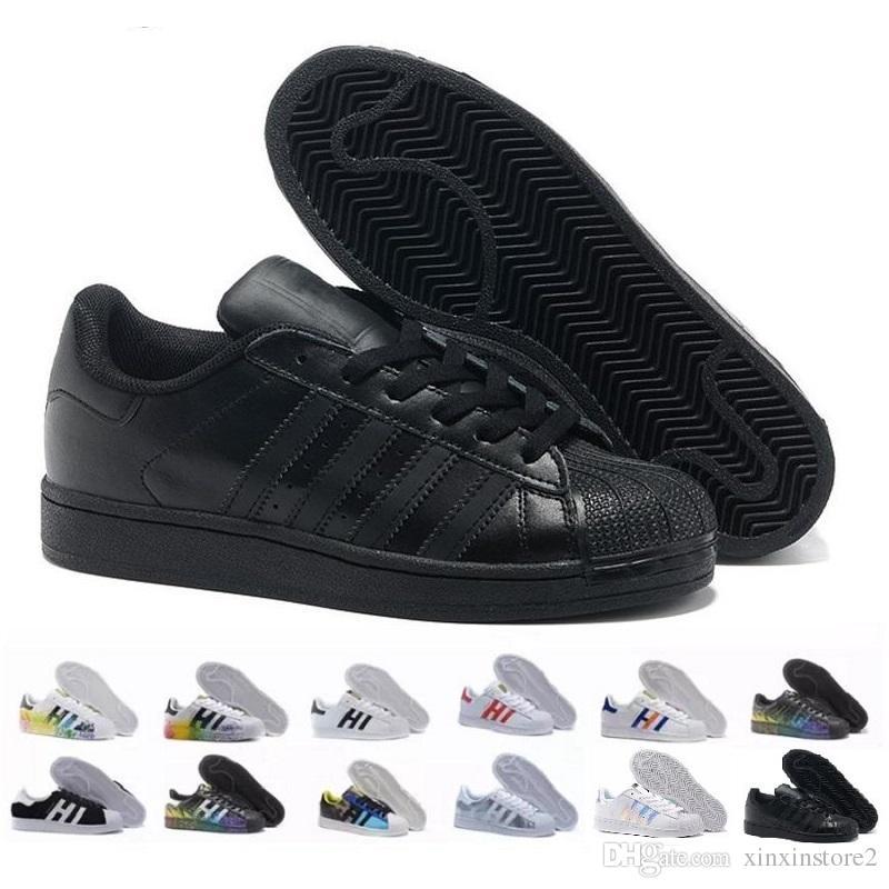 another chance c5a5f 63dc5 Acquista Adidas Superstar 2018 Hot Economici Superstar 80S Uomo Donna  Casual Scarpe Da Basket Scarpe Da Skate i Arcobaleno Splash Ink Moda Scarpe  Sportive ...