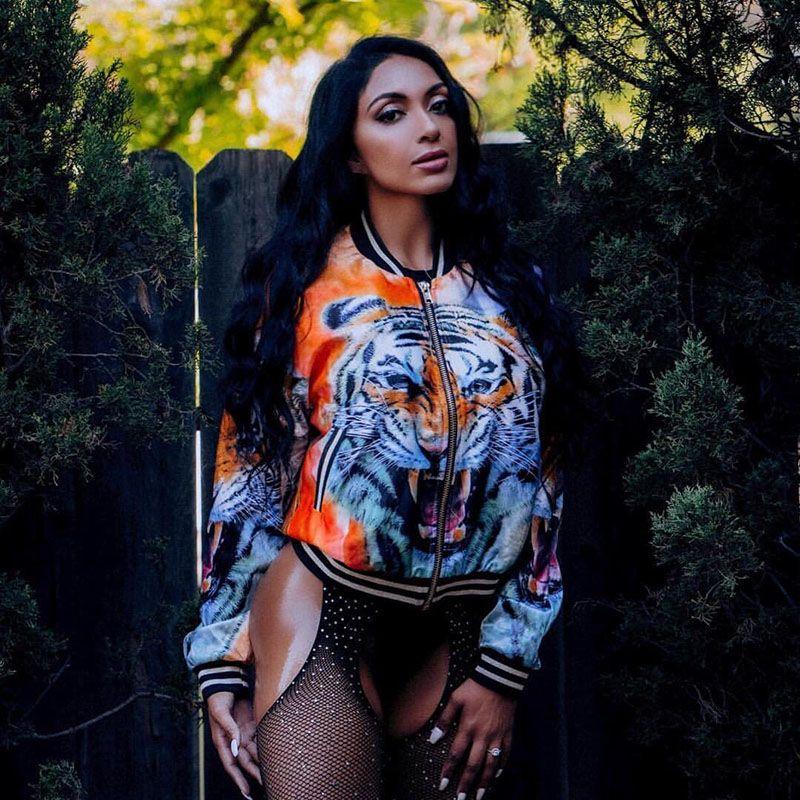 2018 long sleeve fashion women Bomber Jacket Tiger printing Female Short Coat Jacket Beauty street style Loose casual outwear