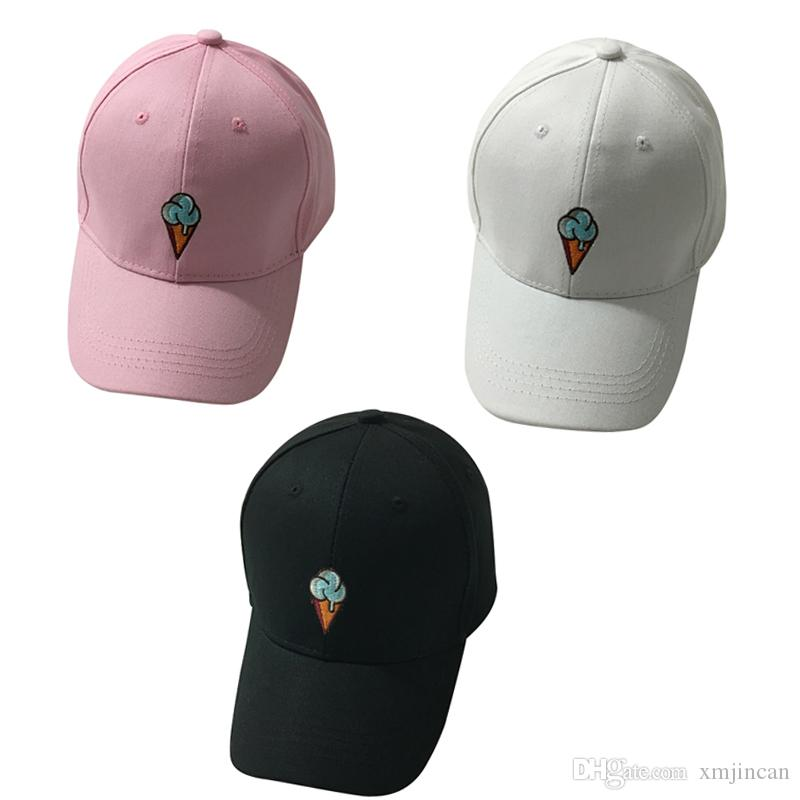 Ice Cream Emabroidery Baseball Cap Women Snapback Hat Casual Fashion  Black White Pink Casquette Sunshade Hat Hat Beanies From Xmjincan 27c6ad6d919