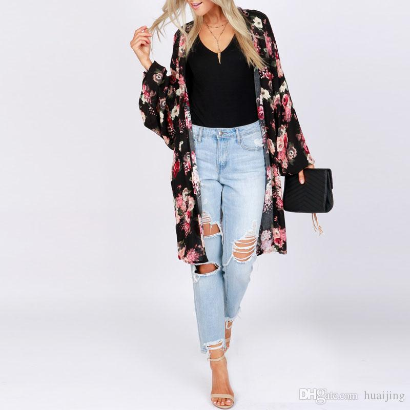 abc45a55c02 2019 2018 Summer ZANZEA Women Open Front Long Sleeve Baggy Party Blouse  Casual Beach Kimono Plus Size Loose Floral Printed Cardigan From Huaijing