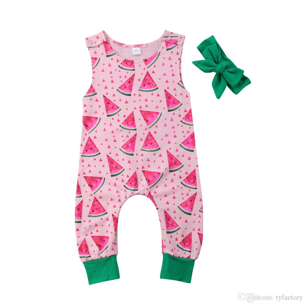 153c8f8b22f 2019 2018 Summer Baby Girl Watermelon Romper Headband Pink Green Jumpsuit  Sleeveless Cotton Geometric Bodysuit Outfit Kid Clothing Set 0 24M From  Tyfactory