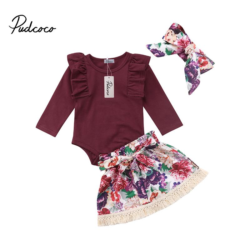 Pudcoco Newborn Baby Girls Fall Spring Clothes Set Cotton Romper Tops Bow Floral Tassel Skirts Headband Outfits 3pcs