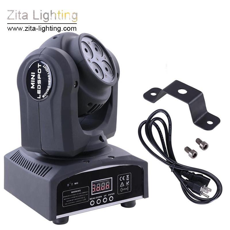 Zita Lighting LED Moving Head Lights Mini Double Side Zoom Stage Lighting 4X10W Wash 1X10W Beam DMX Infinite Rotating DJ Disco Party Effect