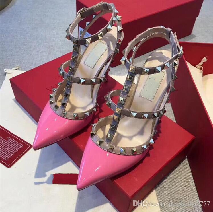 женщины высокие каблуки сандалии платье обувь партия моды заклепки девушки секси заостренный носок обуви пряжки платформа насосы свадебные туфли черный белый цвет