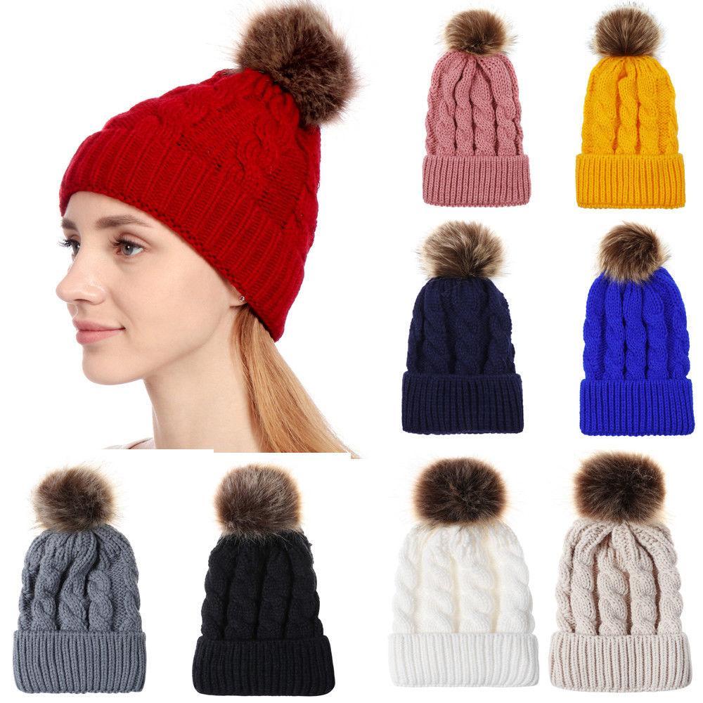 6d5583bfb0b Womens Wool Knitted Fur Pom Pom Beanie Bobble Ski Hat Slouch Cap Unisex  Warm Dames  accessoires