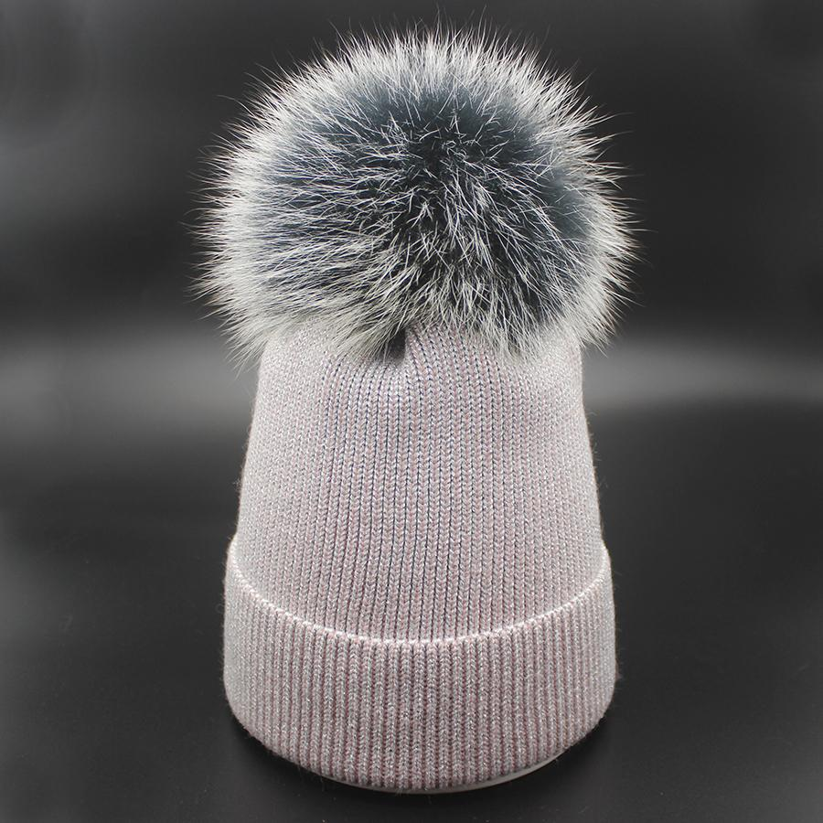8d41010cba7b35 Real Fox Pompom Women Bling Beanies With Silver/Gold Wire Knitted Hats For  Adults Shimmer Shine Female Hair Cap Bonnet Warm Caps Baseball Hat Beach  Hats ...