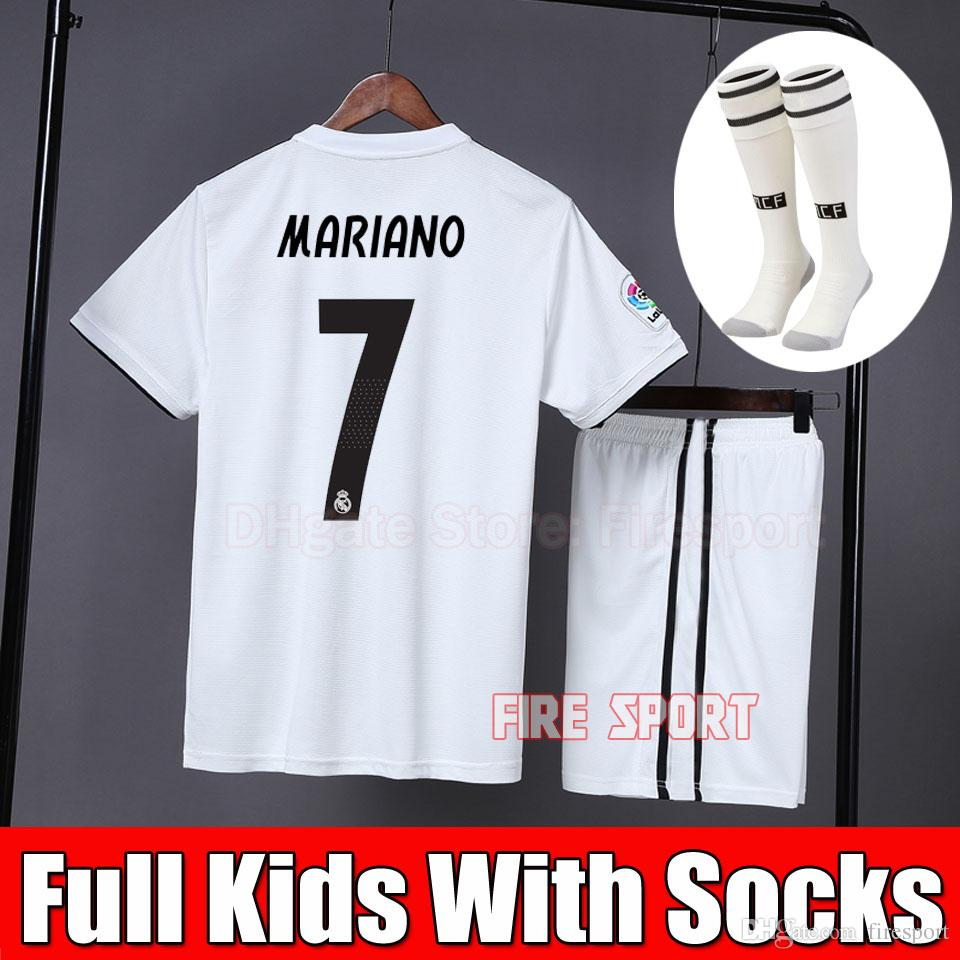 27ba5202a 2019 Kids Kit Real Madrid Soccer Jersey 2018 19 Home White Away Boy Child  Youth MARIANO ISCO VINICIUS JR BALE RONALDO 3rd Football Shirts MARIANO  JERSEY ...