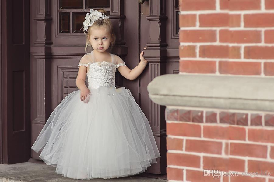 2018 Cute Toddler Princess Flower Girls Dresses For Wedding Newest Lace Tulle Tutu Ball Gown Infant Children Wedding Communion Party Dresses