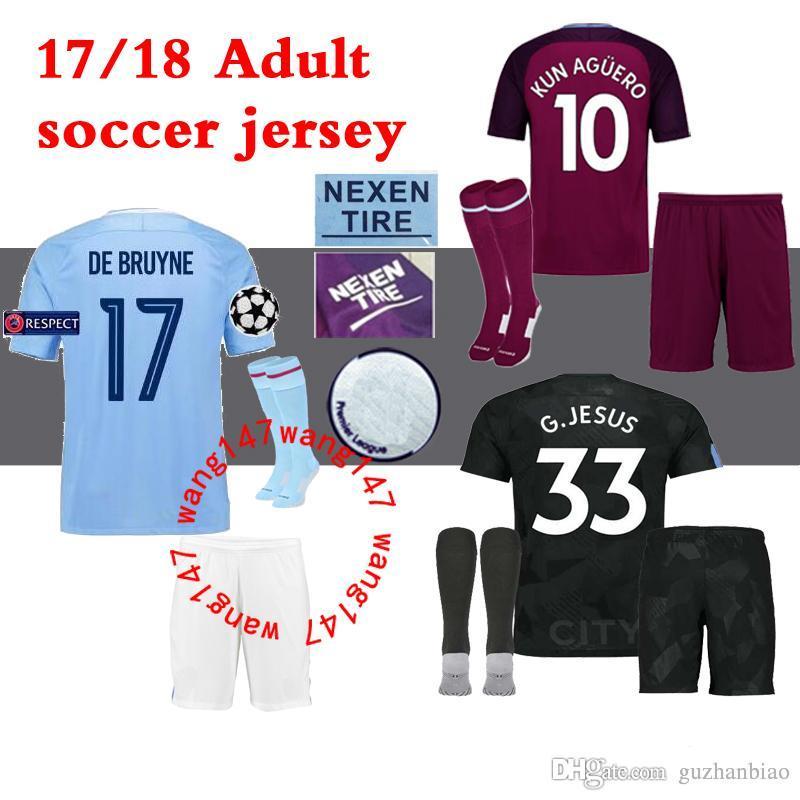 33f346f643b10 Compre Top 17 18 MANCHESTER City Home Kits De Fútbol Kits KUN AGUERO  STERLING Walker DE BRUYNE GUNDOGAN G.JESUS camisetas De Visitante Campeones  Camisetas ...