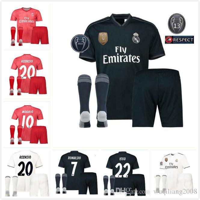 sale retailer bf0e4 88634 18 19 RONALDO Real madrid men THIRD AWAY RED Soccer Jerseys ASENSIO  GOALKEEPER BLAE NAVAS K.CASILLA BENZEMA ISCO JERSEY 2018 MEN ADULT KIT