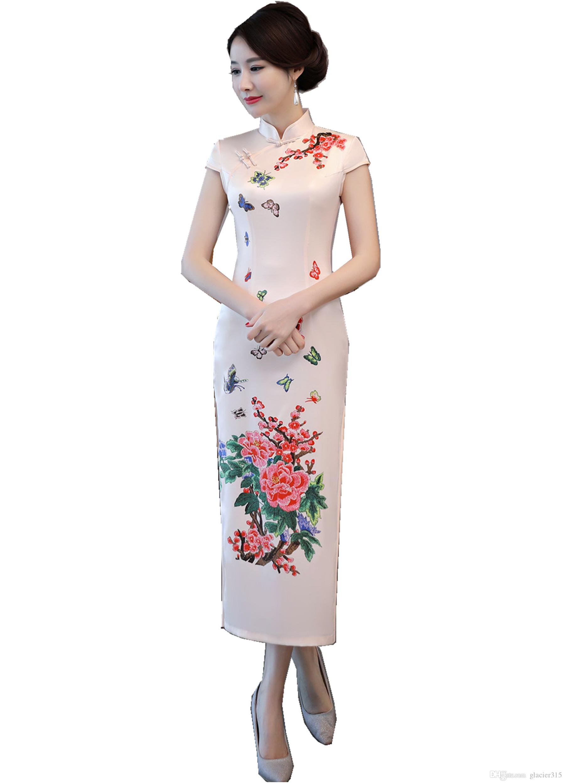 1239c1f0dd60d Acheter Shanghai Story White Qipao Robe Traditionnelle Chinoise Robe De  Style Chinois Robe Orientale Longue Cheongsam De  32.51 Du Glacier315