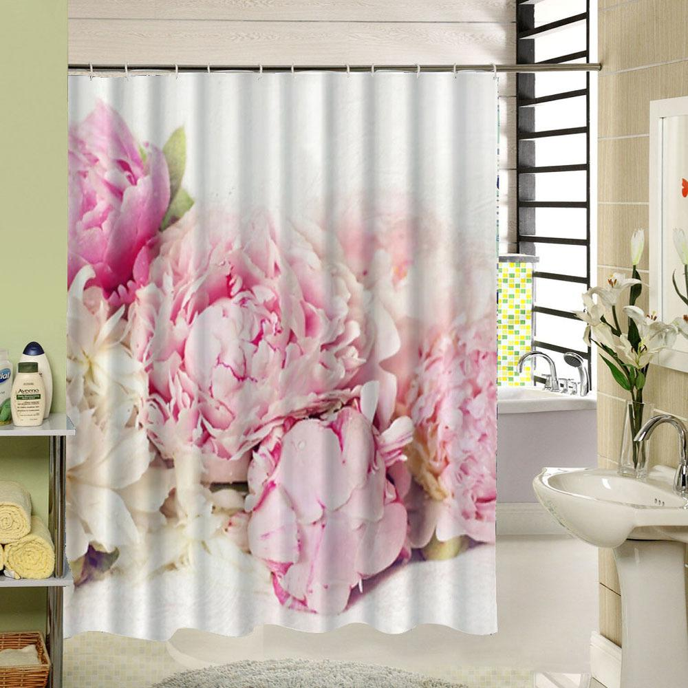 2018 Pink Floral Shower Curtain Fabric Waterproof 3d Print For Bath Decorative Liner From Diaolan 2266