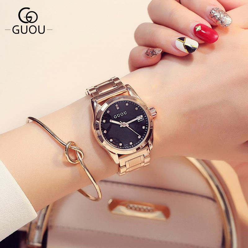 Compre Guou Marca De Luxo Mulheres Relógios Moda De Quartzo Senhoras À  Prova D  água Relógio De Aço Inoxidável Mulheres Relógios De Strass Relogio  Feminino ... db30bb7bf9