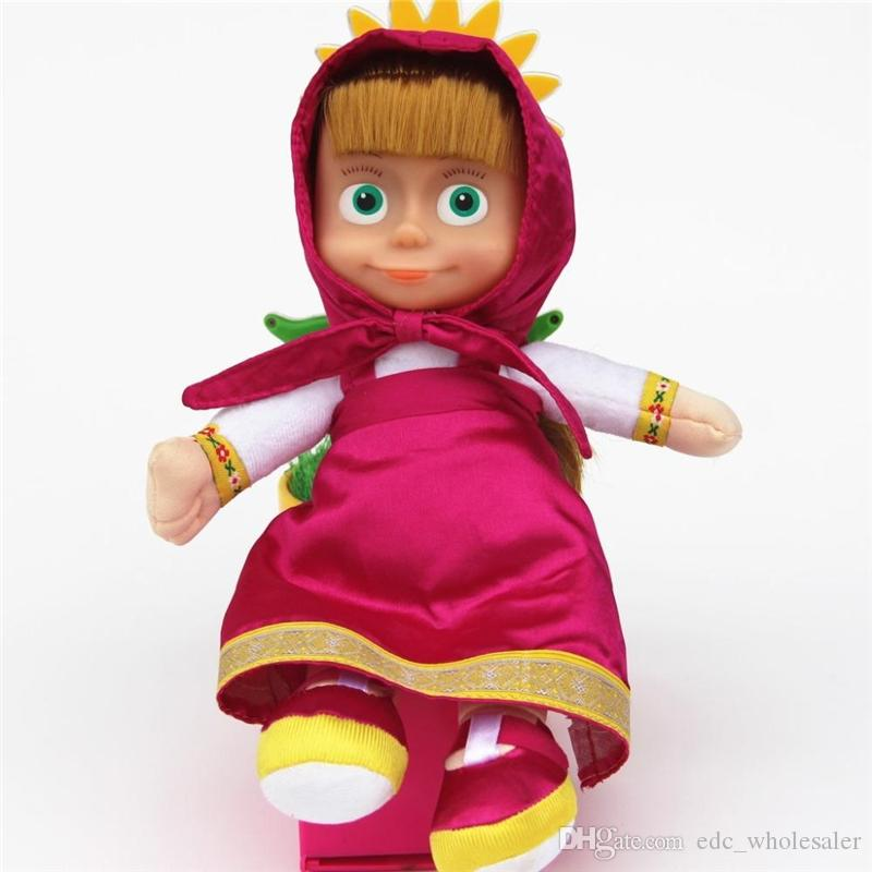 27cm Popular Masha Plush Dolls High Quality Russian Martha Marsha PP Cotton Toys Kids Briquedos Birthday Gifts