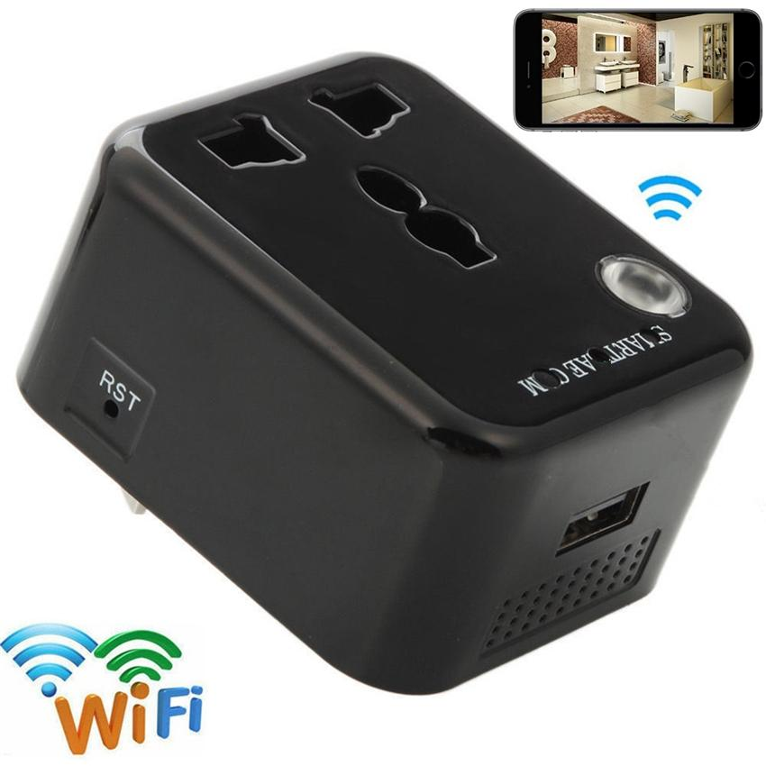 32GB Wifi 1080P Socket Camera Travel Adapter HD Mini Camera Wireless Security Cam Reall-Time Video Viewing for Android IOS Phone Remote View