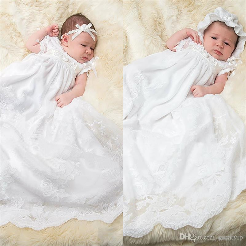 6f8358b0a First Communion Dresses Applique Lace Edge Short Sleeves Ankle Length Baby  Christening Gowns With Bonnet Baptism Outfits Girl Dresses Girls Dress From  ...