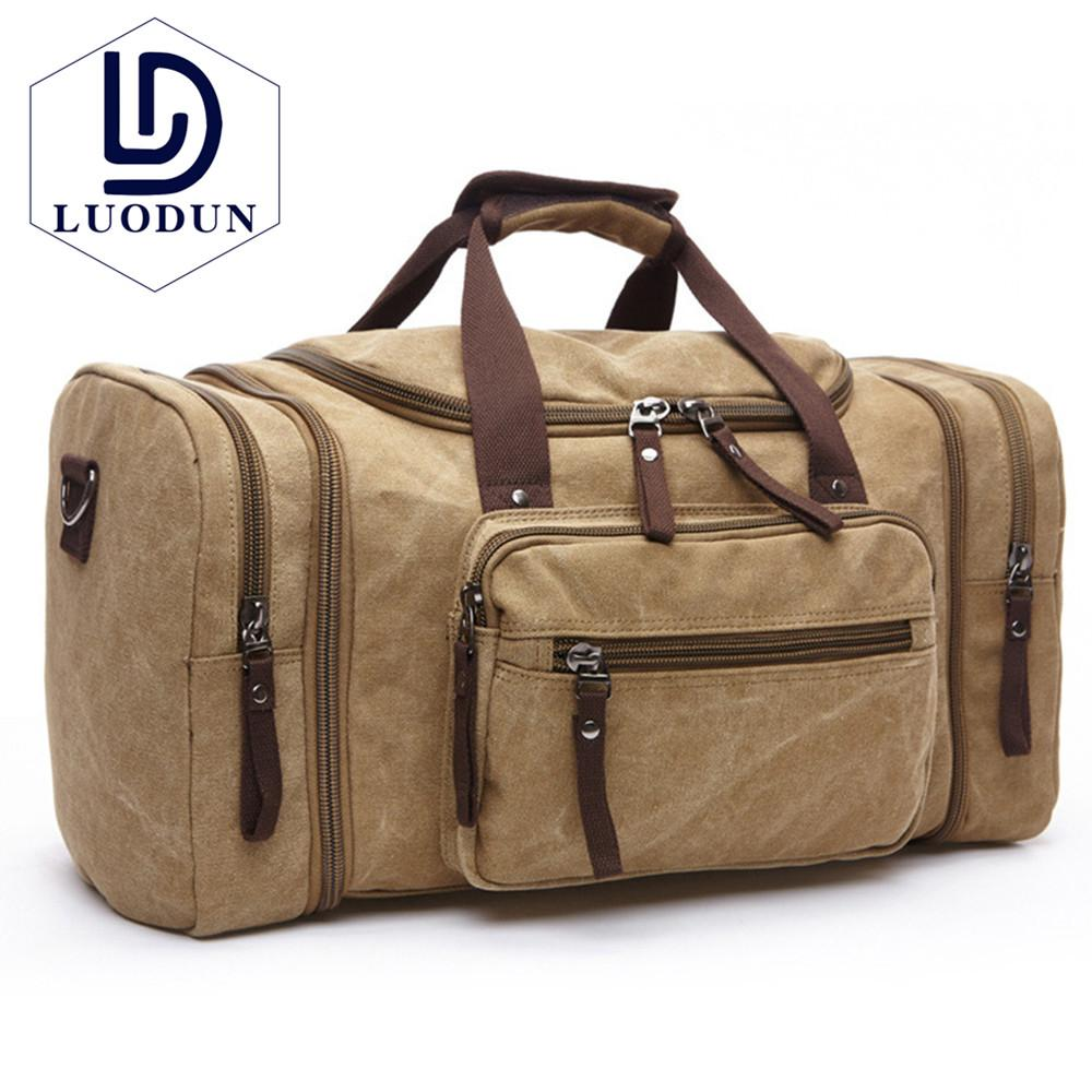 LUODUN Canvas Men Travel Bags Carry on Luggage Bags Men Duffel Bag ... bd5197b9c41cb