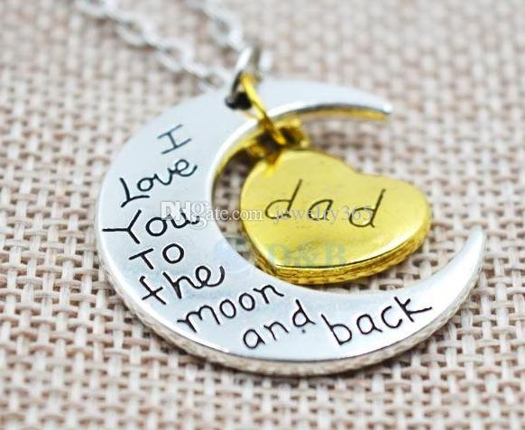 100 шт. / лот старинное серебро семья Я люблю тебя на Луну и обратно Мама папа сестра брат дочь сын сердце ожерелье