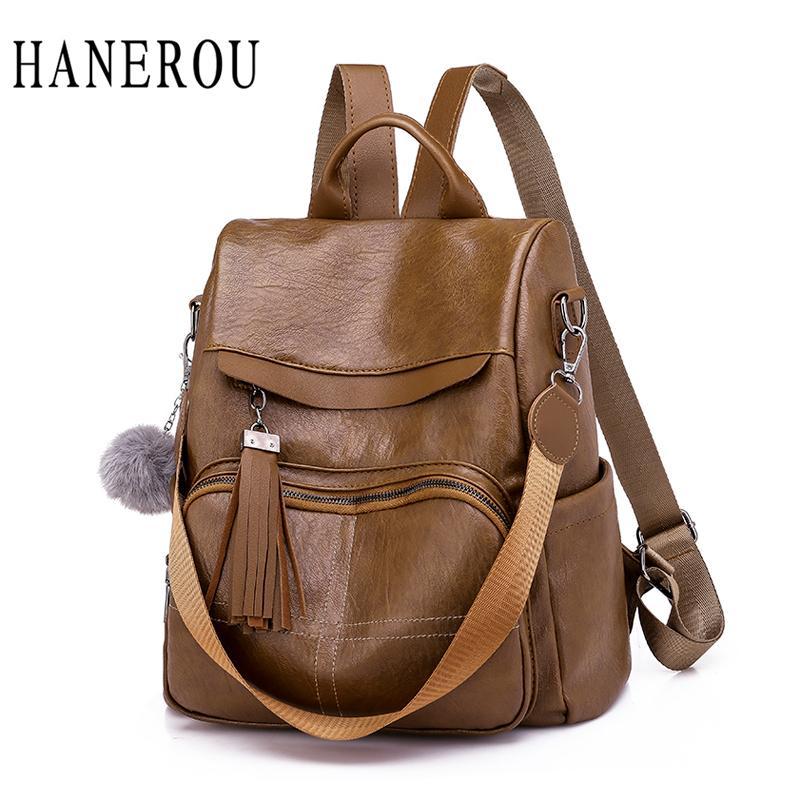 HANEROU Female Backpack Soft Leather Anti Theft School Bags Travel Sac A  Dos Women Backpack Tassel Teenage Girl Backpacks New Black Backpack Camera  Backpack ... 333c816096