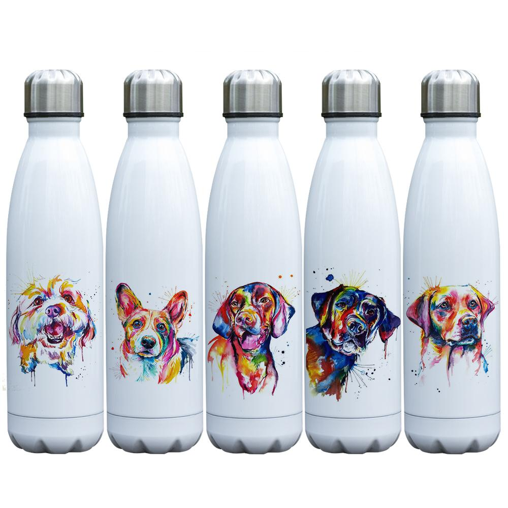 29221498db 2019 Dog Lovers Gift Cute Puppy Watercolor Painting Printed Vacuum Bottle  Stainless Steel Double Walled Insulated Water Bottle 17oz From Homegarden,  ...