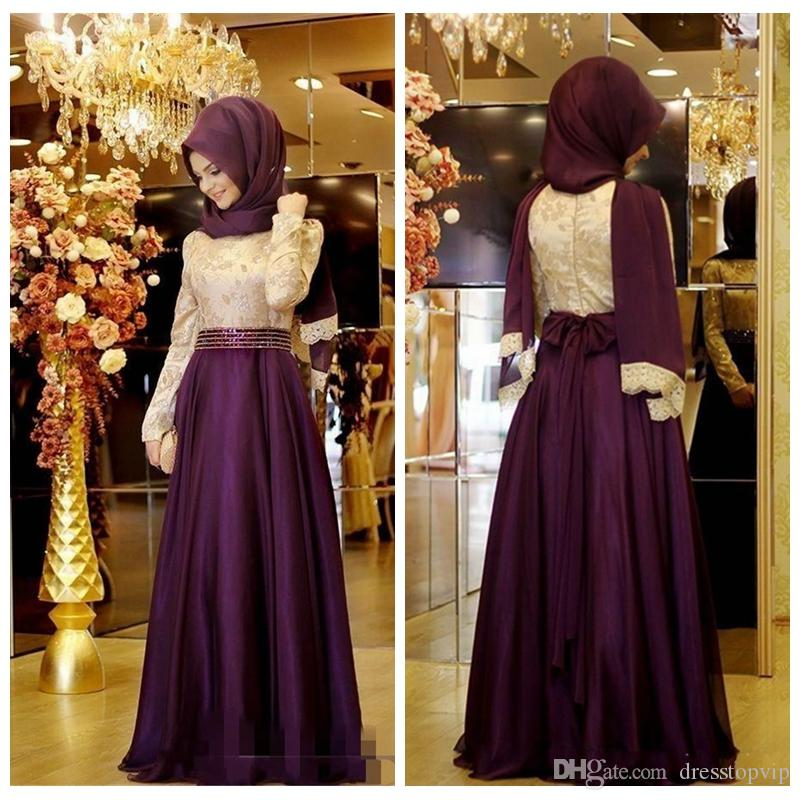 2019 Muslim Evening Dresses With Long Sleeve Beaded Waist Top Lace A Line Chiffon Purple Arabic Long Hijab Evening Gowns for Party