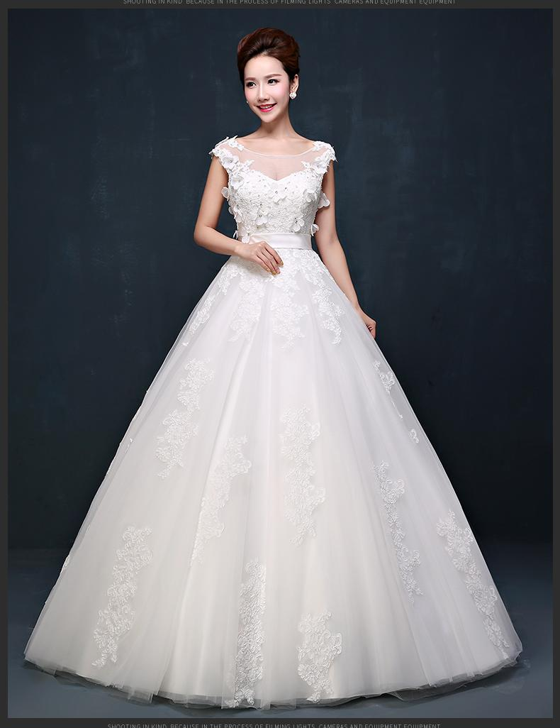Elegant Embroidery Lace Wedding Dresses Plus Size Bateau Neck Garden Lace Appliques Pregnant Woman Dress Floor Length Flower Dress W09B