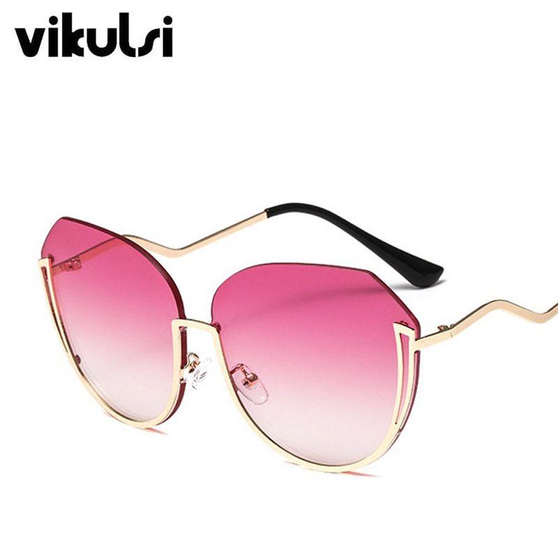 88365497d2 Half Frame Brand Designer Sunglasses Women Oculos Round Ladies Sun ...