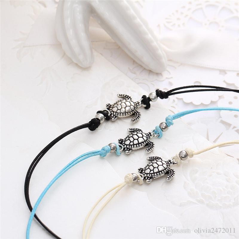 Старинные кожаные веревки ножные браслеты для женщин ретро Черепаха ножной сексуальный пляж браслет цепи животных чешские ноги ювелирные изделия Гц