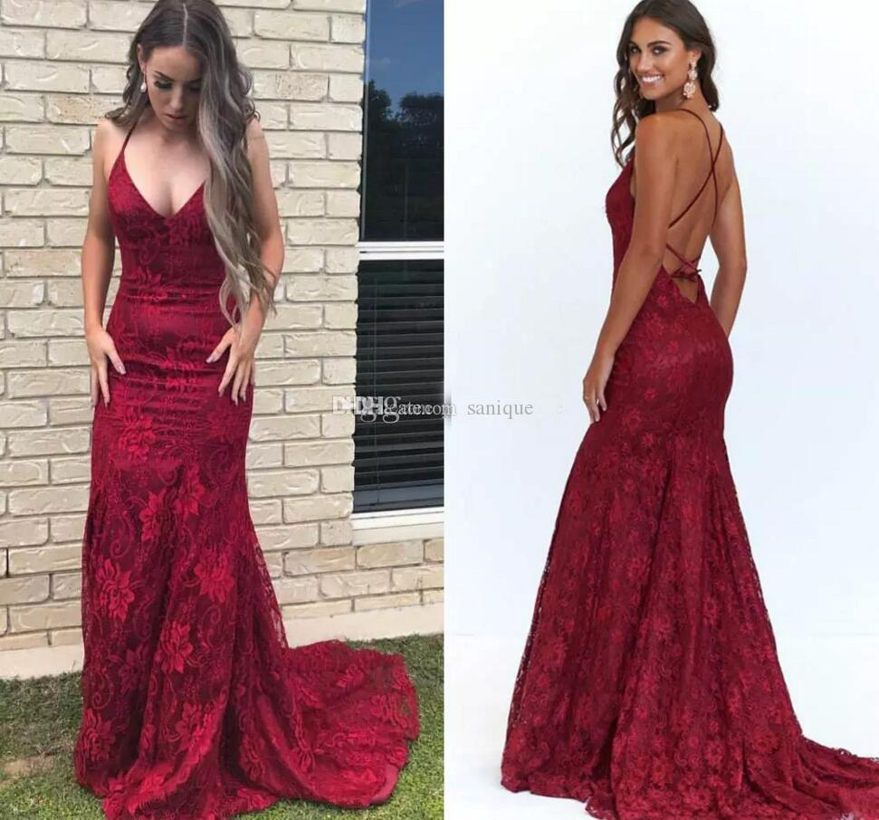 7198a7023909 2019 Burgundy Lace Backless Mermaid Evening Dresses Deep V Neck Criss Cross  Back Formal Evening Dresses Sexy Prom Dresses Sweep Train Evening Dresses  With ...